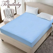 Comfortable silk Blue Hexagon Cool Feeling Air Layer quilted waterproof mattress protector and white knitted fabric