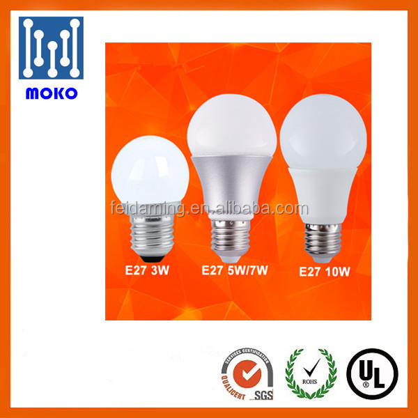 Energy saving E27 LED plastic housing Lamp Bulb Lighting 9W 900lm CRI>80 3 years warranty