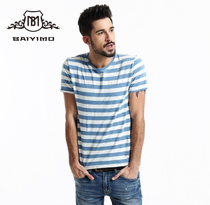 Alibaba China Wholesale Navy Stripe Sublimation Custom Logo Cotton T shirt For Men