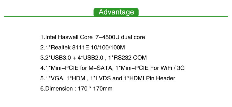 IWILL Core i7 4500U Thin itx embedded motherboard support core i3 i5 i7