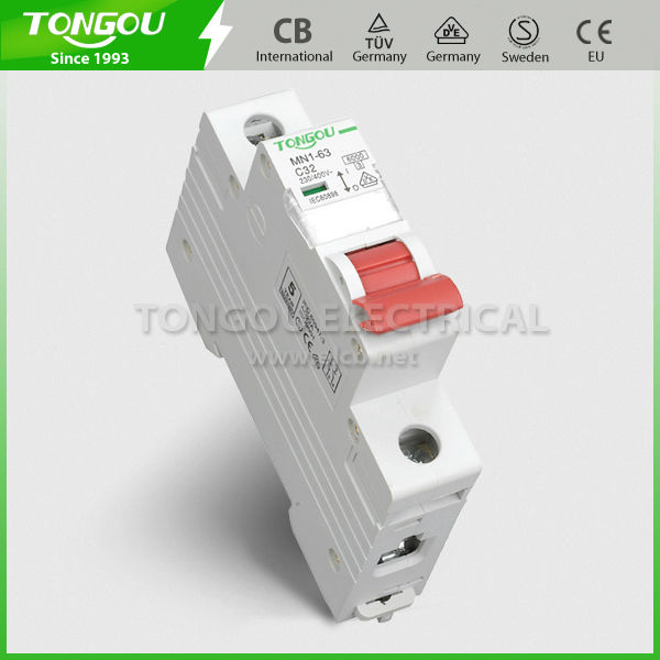 TOMN1-63 single phase Miniature Circuit Breaker from TONGOU Electrical with years 20' experience, honest heart