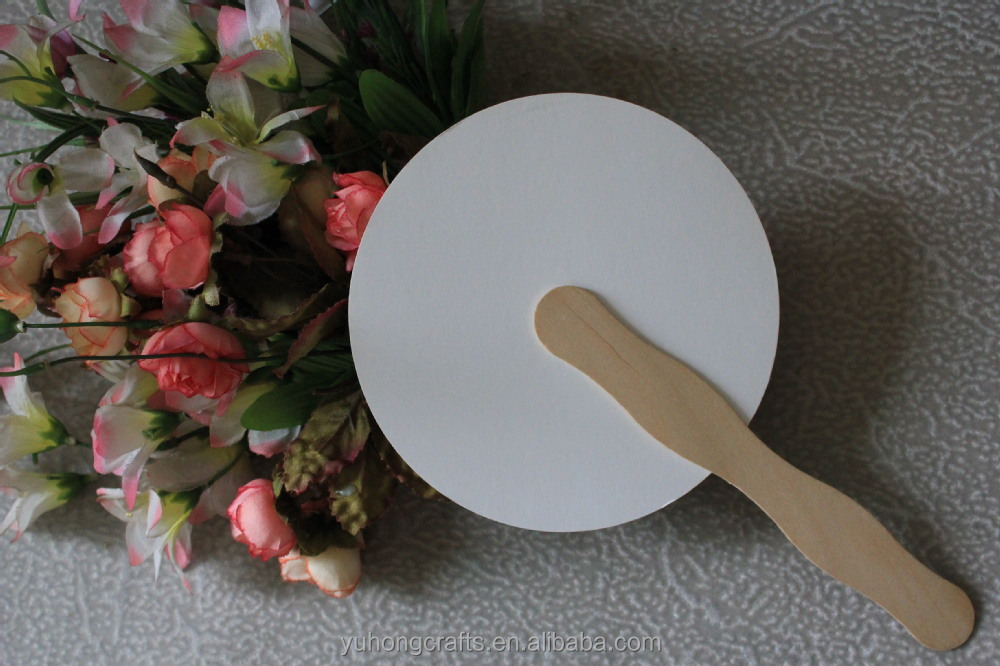 Chinese paper gift fan with wood handle