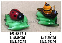 hand made small glass ladybird and snail decoration