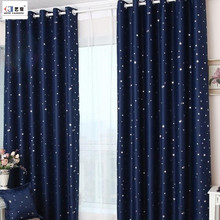 Hot sale made to measure printed star design children living room blackout grommet curtain