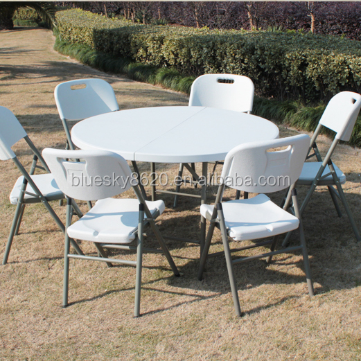 Outdoor garden plastic furniture round folding tables Cheap high quality wedding folding round plastic table