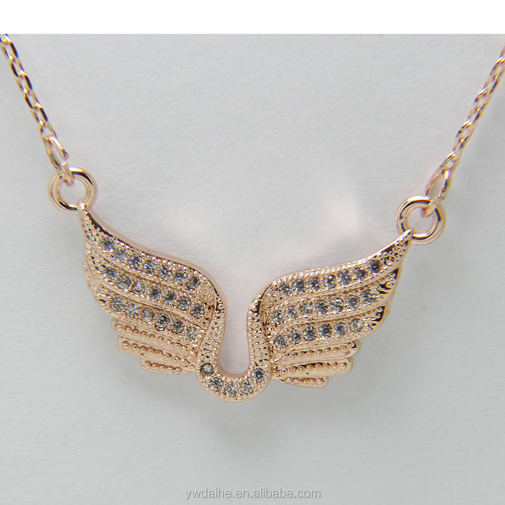 wholesale copper rose gold plating crystal angel necklace jewelry