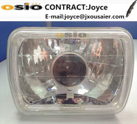 5 inch Square BMC with Crystal Glass Auto Halogen Semi Sealed Beam Headlight Install H4 or H4 HID Xenon Bulb