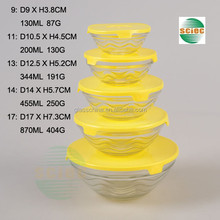 Different Sizes of Glass Bowl Set with Yellow Plastic Lid