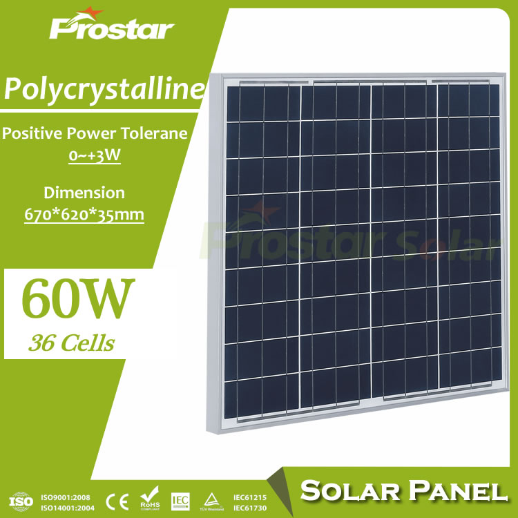 Prostar polycrystalline photovoltaic PV 12v 60w solar panel price with MC4 for 12 Volt battery charging