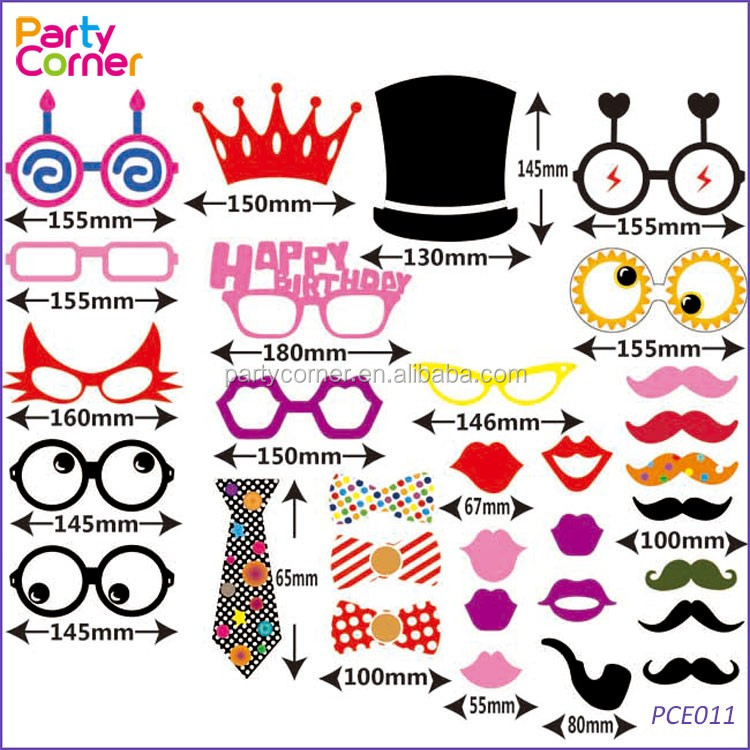 31pcs DIY Mask Photo Booth Props of Glasses&Hats on a Stick for Wedding,Halloween,Thanksgiving,Christmas,Birthday Party Favor