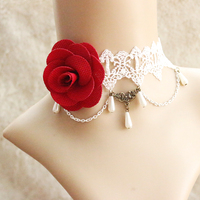 Wedding necklace design Handmade Vintage Flower necklace Lolita Girls short lace choker N74