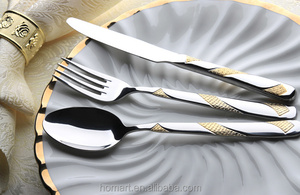 machine polish high class stainless steel gold spoon cutlery