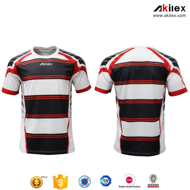 Akilex Round Collar 100% polyester customize sublimation striped soccer jersey uniform football dry fit shirt for men