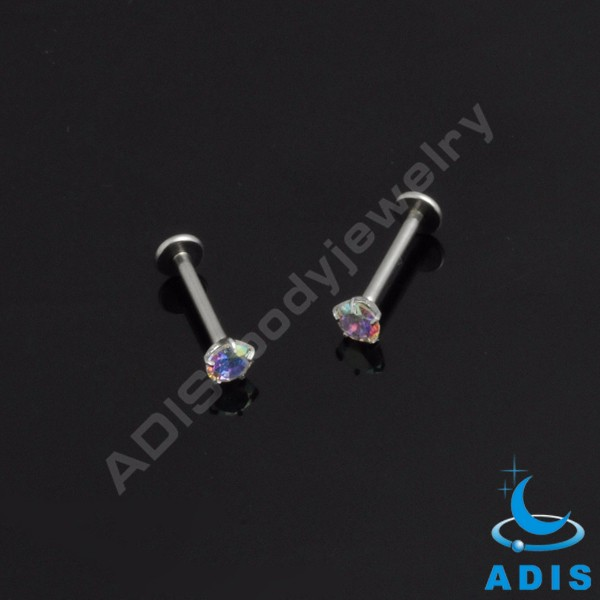 Handmade surgical steel labret piercing diamond lip rings jewelry women