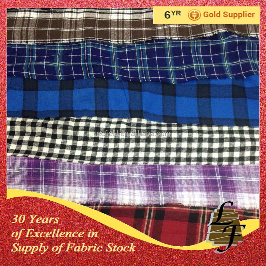 china supplier 100% cotton yarn dyed flannel check stock lot fabric for men shirt