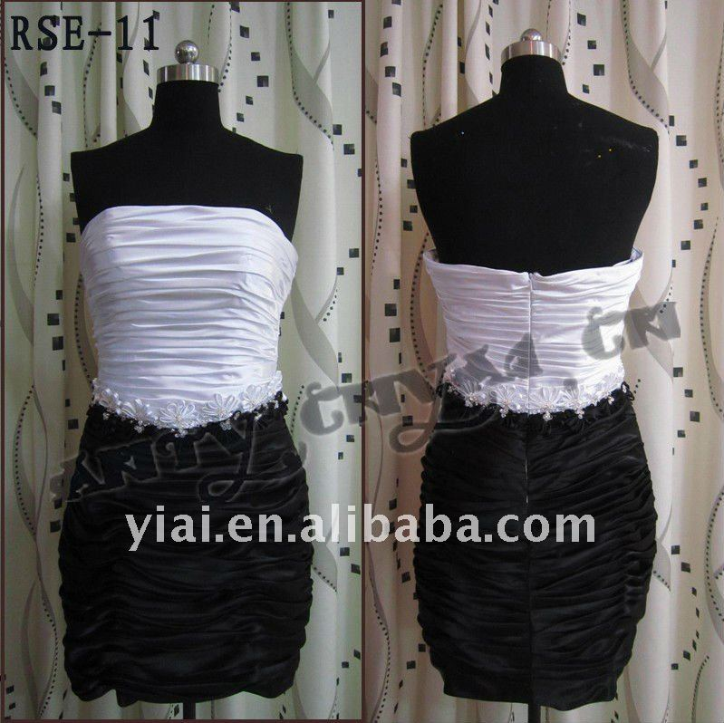 RSE11 High Quality 2011 latest Flower Belt Black And White Short Silk Satin Customed Evening Dress