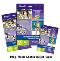 180g waterproof Inkjet Matte Coated Photo Paper/professional supplier