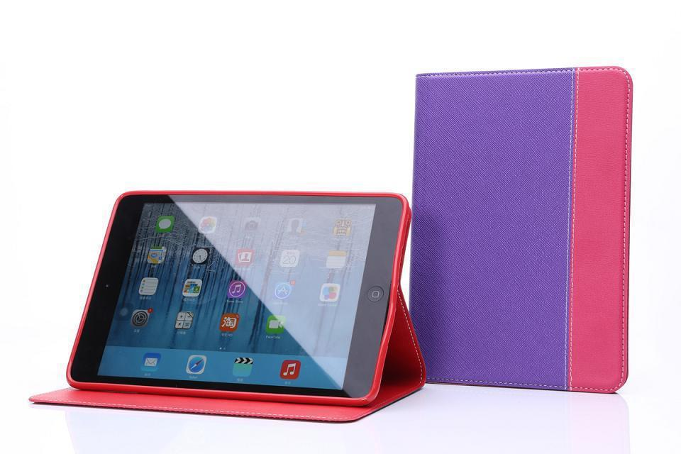 2014 New fashion design Ultra-thin contrast color Flip PU Leather Stand Smart Cover Case for Apple iPad Mini 1/2 Retina Display