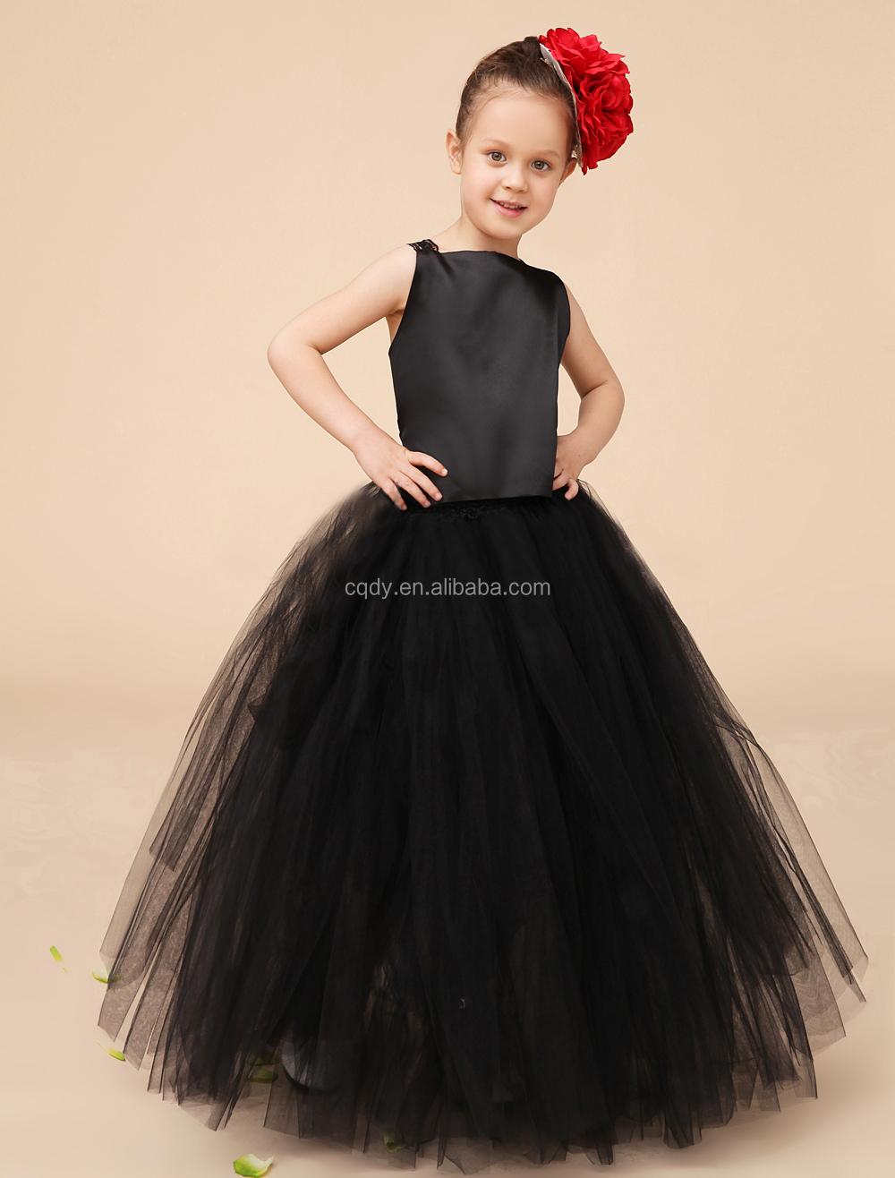 Children Black Cotton Frocks Design For Flower Girls Summer Party ...