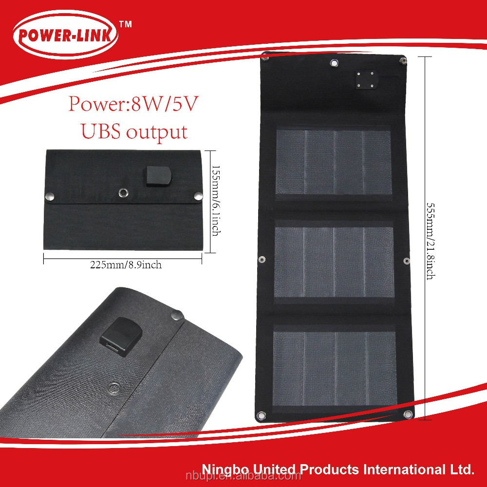 CIGS flexible light 8W folding solar power charger,solar panel,solar cell,laminate,for mobile, pad,camera