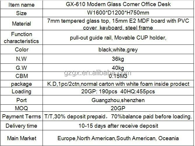 "GX-610 All "" white"" L-shape desk, glass PC desk,"