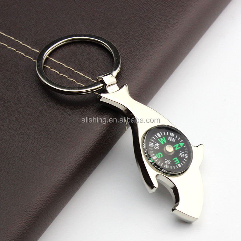 Wholesale shark shape metal compass keychains / Promotional shark compass key chains and key rings