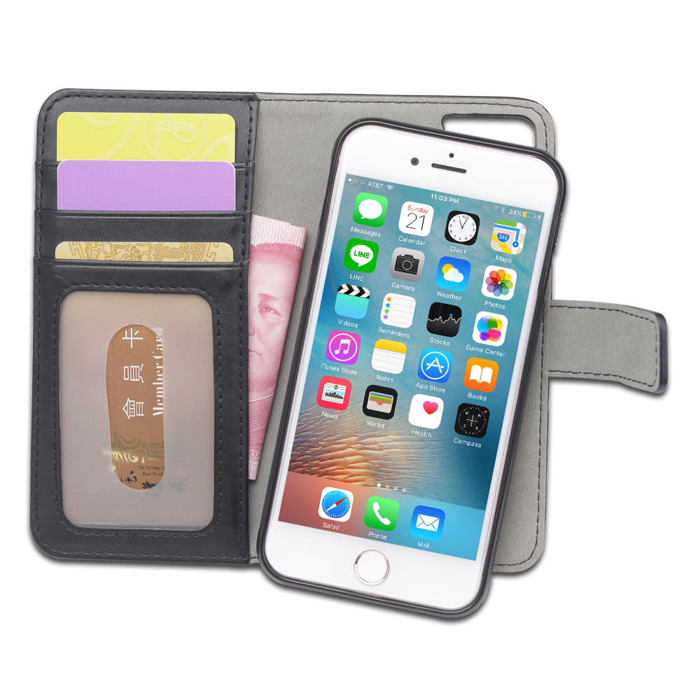 Detachable Magnet PU Leather Wallets Case for iPhone 7