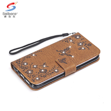 Luxury diamond folding flip mobile phone wallet pu leather case for samsung galaxy a3 2017 a5 2017 a7 2017