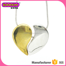 Two pieces of heart pendant separate combined changeable couples lovers necklace for gift