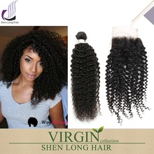 Fast shipping free parting kinky curly lace closure brazilian virgin hair bundles with lace closure