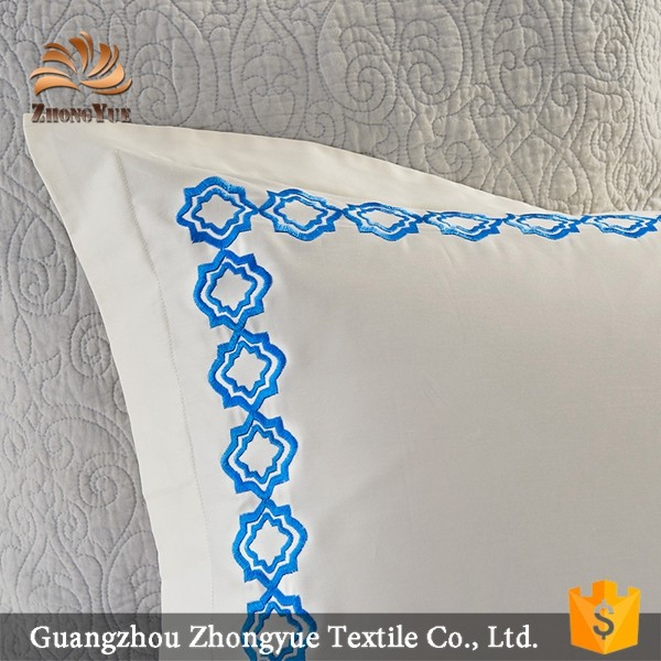 zhongyue new design 100%cotton plain pillow cases embroidery