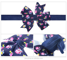 Wholesale Cheap Children Flower Printing Elastic Headband With Bow Cute Baby Girls <strong>Hair</strong> <strong>Accessories</strong>