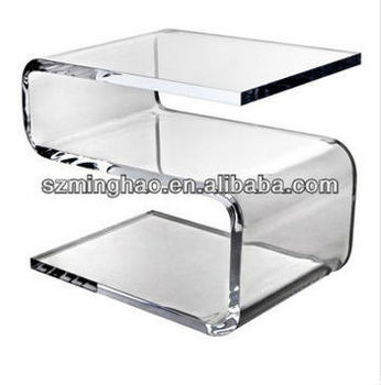 Clear Curved Acrylic Bedside Table S Shape Design / Curve Table