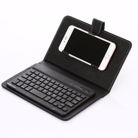 Wireless Bluetooth Keyboard with Leather Case Cover Stand For 4.5-6.5inch Tablets and phone