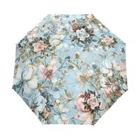 China OEM custom design Wholesale rose flower blue logo print heat transfer 3fold auto open and closed woman umbrella