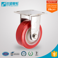 5 inch Industrial rigid red PU caster wheel with stainless steel