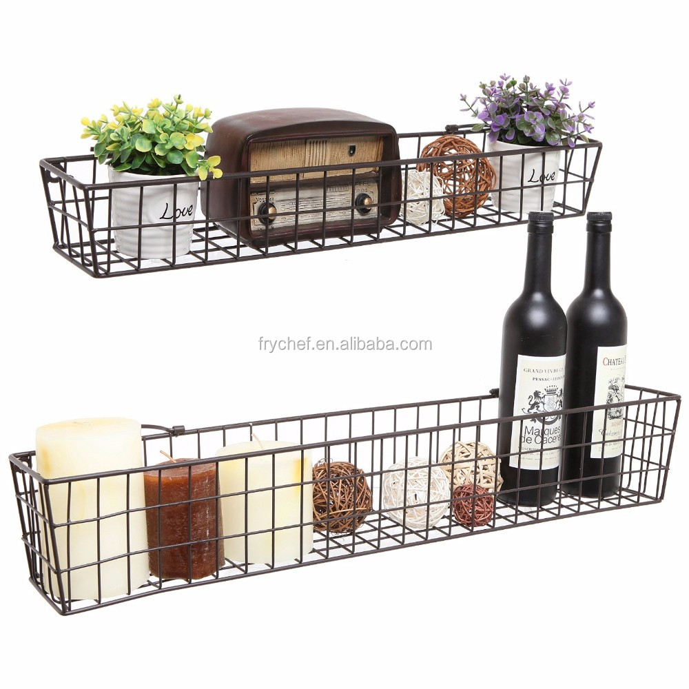 Bathroom & Kitchen Wall Metal Wire Storage Basket Shelves / Display Racks 2Set