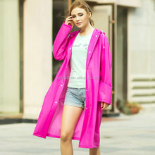 Fashion Women EVA Transparent Raincoat Poncho Portable Light Raincoat For Adult