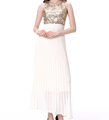 Sleeveless O Neck Sequin Fabric Long Party Evening Dress