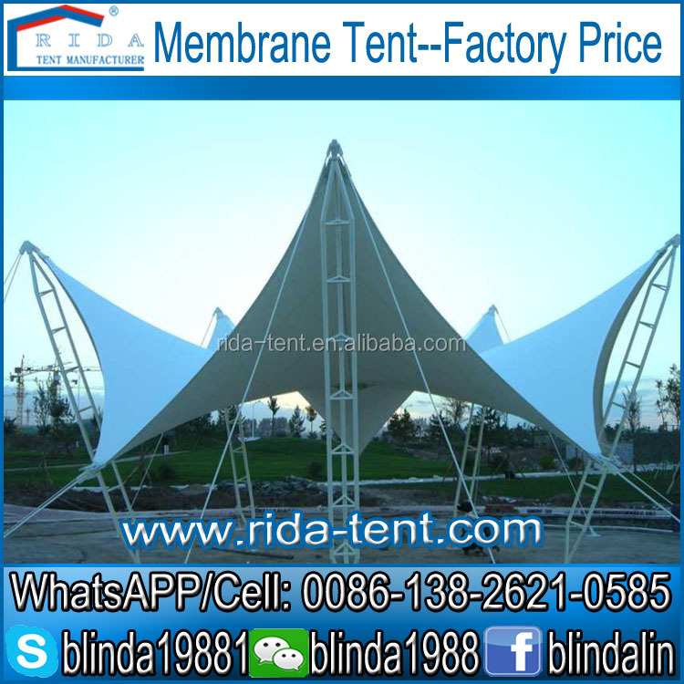 1250g/sqmFabric Membrane Steel Structure Tent,High tension, heat resistent PTFE ceiling membrane