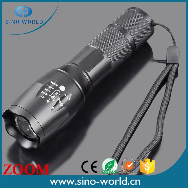 1*18650 battery +charger+1000 Lumens 5-Mode CR EE XM-L T6 zoom high lumen tactical flashlight