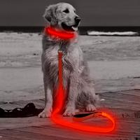 super bright nylon webbing USB led retractable dog leash