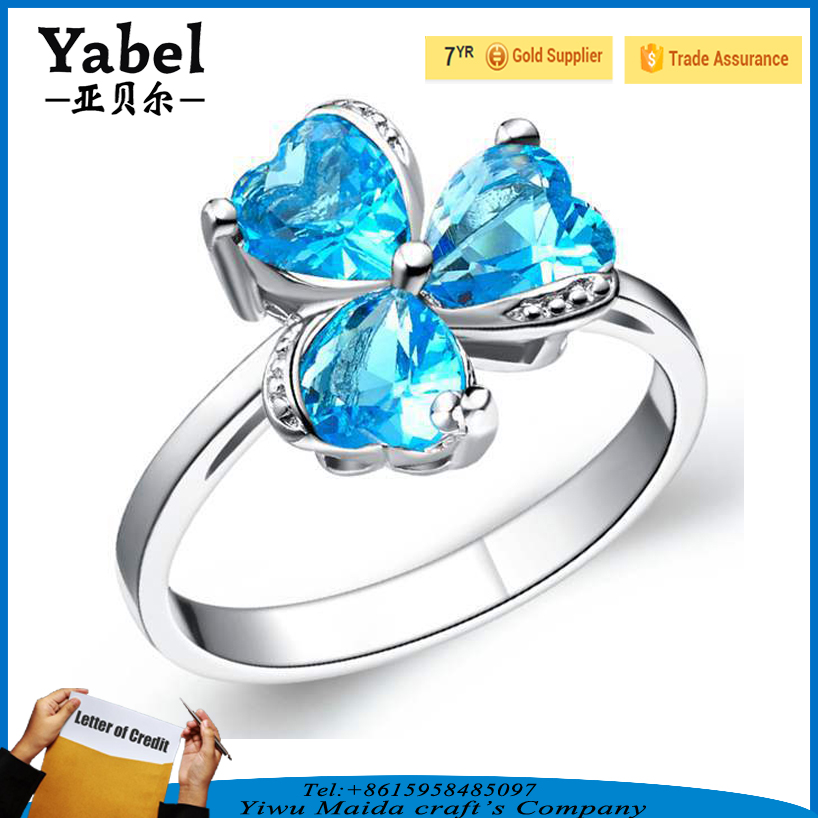 Hot Sale Clover Shape Stering Silver Mood Blue Gemstone Seal Ring