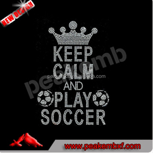 Keep Calm and Play Soccer Heat Transfer Designs Iron On Rhinestone Applique Hotfix Motif For T Shirts