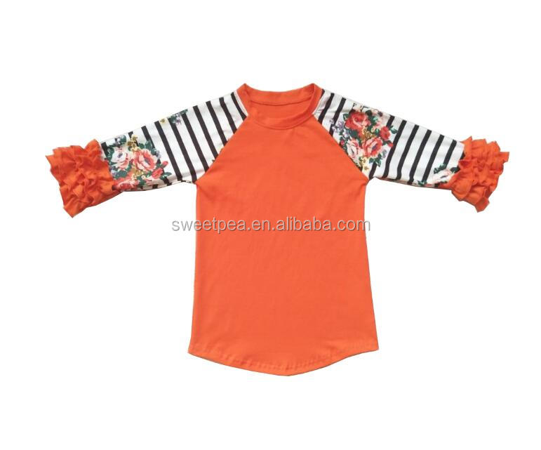 Icing ruffle raglan girls boutique clothing icing sleeve t shirt for girls