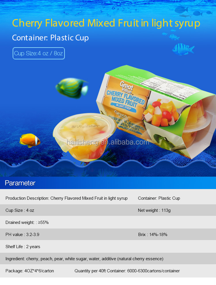 High Quality cherry fruit cocktail fruit cups for Export