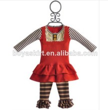 fashion baby girl outfit red ruffles stripe sets brown and yellow stripe pants baby girl outfit adult baby girl clothing