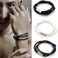 Stainless steel magnetic clasps pu leather bracelet