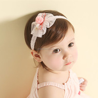 Mixed colors cute hand made tulle flower lace headband baby hair accessories