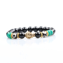 new designs men natural black agate gold buddha bracelets